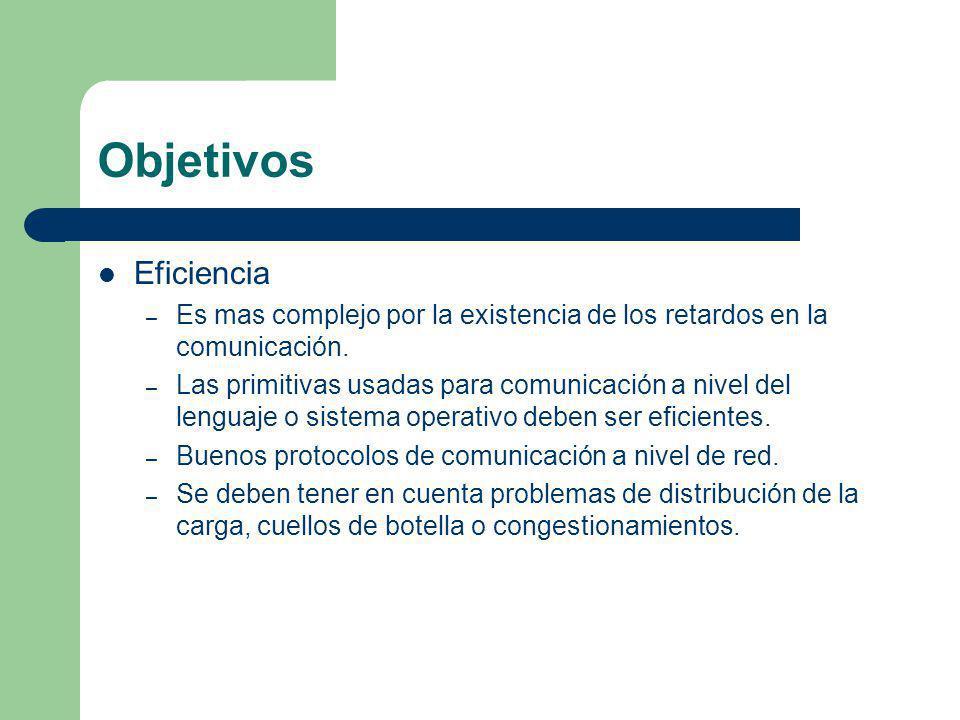 Objetivos Eficiencia. Es mas complejo por la existencia de los retardos en la comunicación.