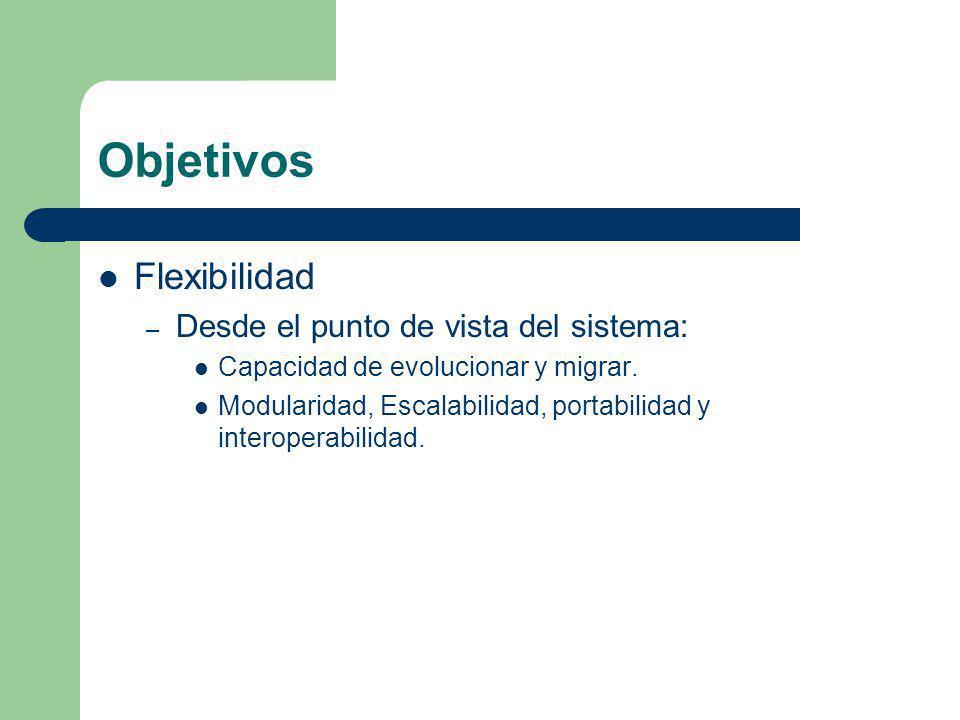 Objetivos Flexibilidad Desde el punto de vista del sistema: