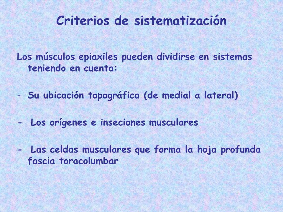 Criterios de sistematización