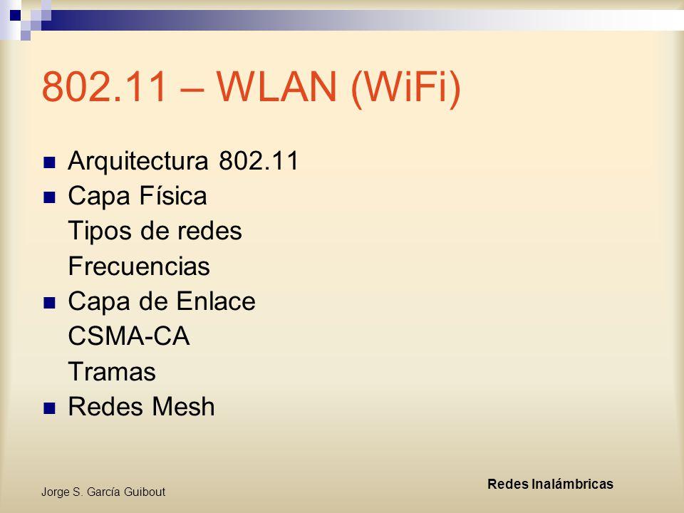 802.11 – WLAN (WiFi) Arquitectura 802.11 Capa Física Tipos de redes
