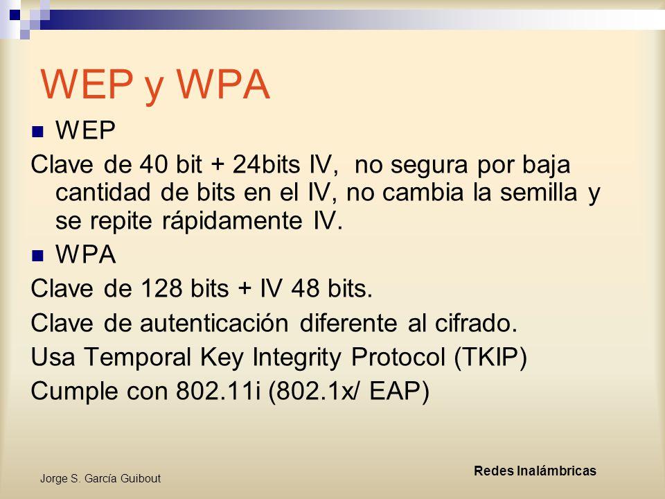 WEP y WPA WEP. Clave de 40 bit + 24bits IV, no segura por baja cantidad de bits en el IV, no cambia la semilla y se repite rápidamente IV.