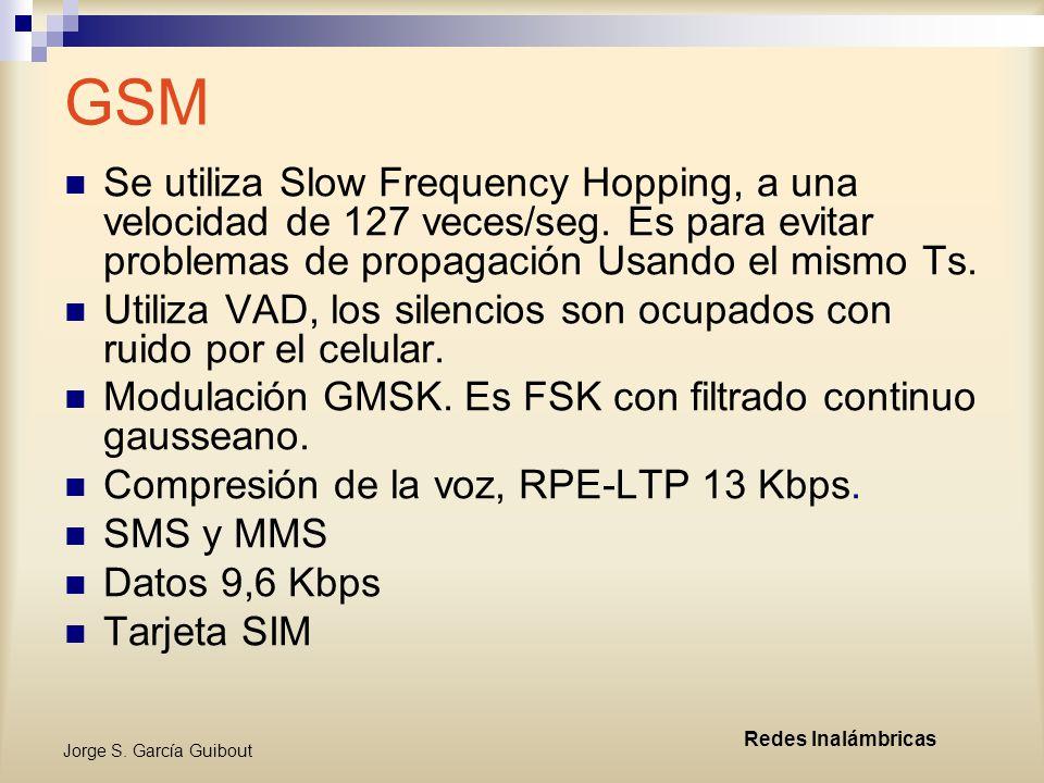 GSM Se utiliza Slow Frequency Hopping, a una velocidad de 127 veces/seg. Es para evitar problemas de propagación Usando el mismo Ts.