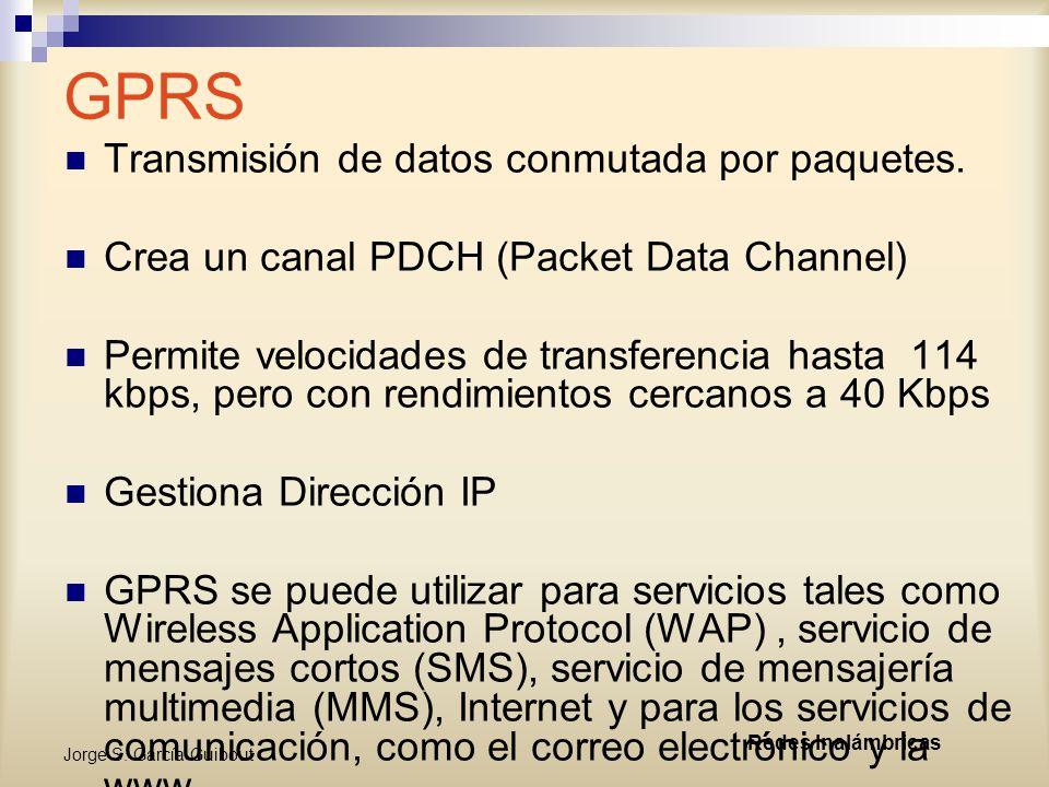 GPRS Transmisión de datos conmutada por paquetes.