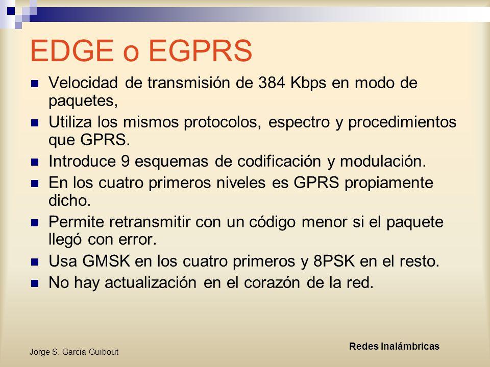 EDGE o EGPRS Velocidad de transmisión de 384 Kbps en modo de paquetes,