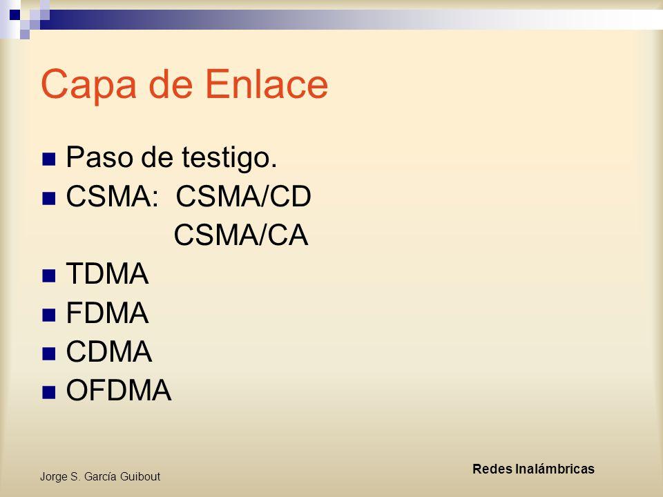 Capa de Enlace Paso de testigo. CSMA: CSMA/CD CSMA/CA TDMA FDMA CDMA