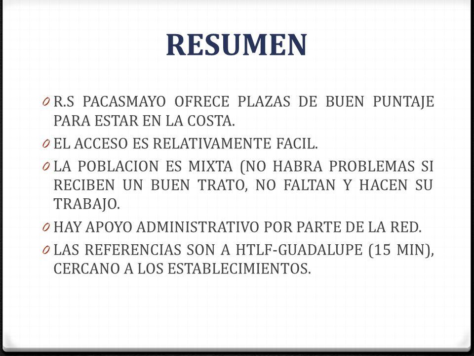 RESUMEN R.S PACASMAYO OFRECE PLAZAS DE BUEN PUNTAJE PARA ESTAR EN LA COSTA. EL ACCESO ES RELATIVAMENTE FACIL.