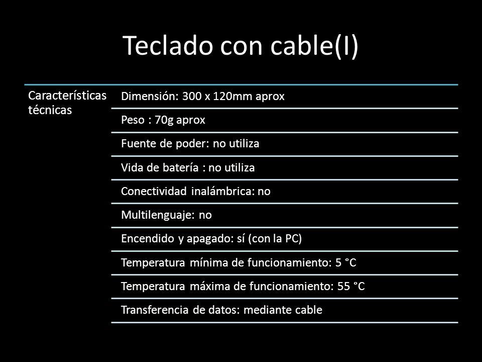 Teclado con cable(I) Características técnicas