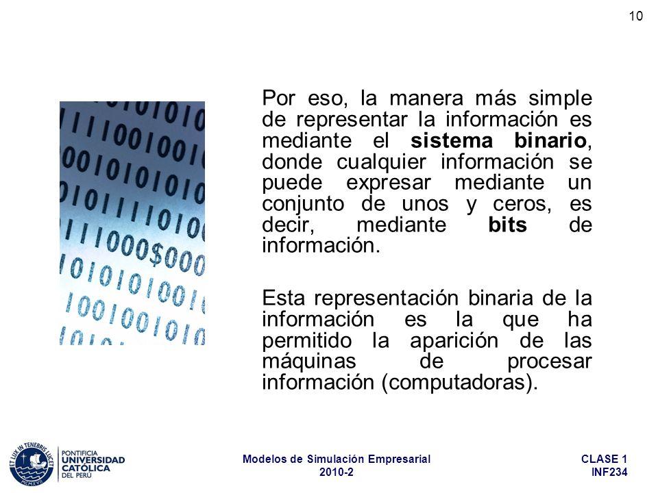 Por eso, la manera más simple de representar la información es mediante el sistema binario, donde cualquier información se puede expresar mediante un conjunto de unos y ceros, es decir, mediante bits de información.