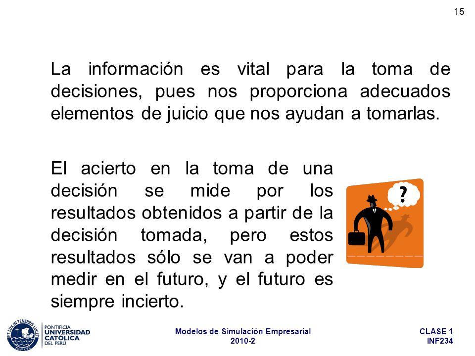 La información es vital para la toma de decisiones, pues nos proporciona adecuados elementos de juicio que nos ayudan a tomarlas.
