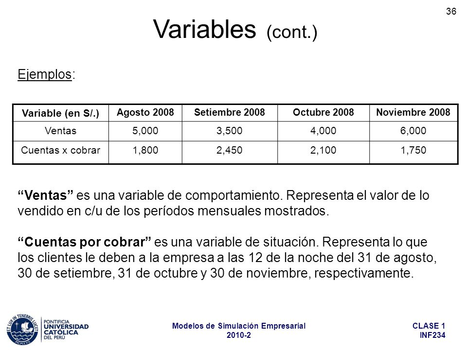 Variables (cont.) Ejemplos: