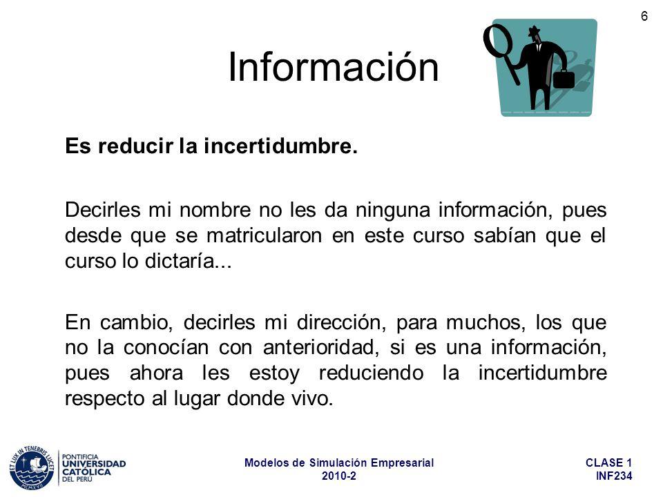 Información Es reducir la incertidumbre.