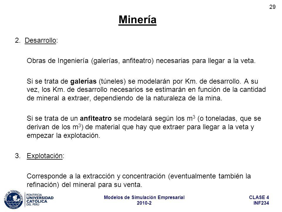 Minería 2. Desarrollo: Obras de Ingeniería (galerías, anfiteatro) necesarias para llegar a la veta.