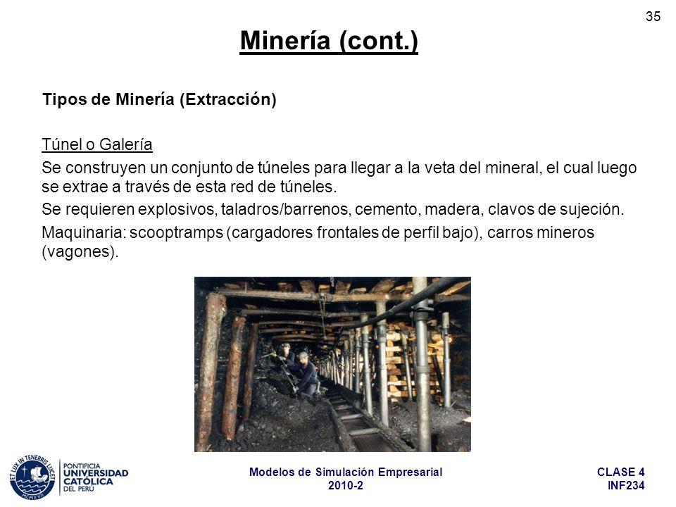 Minería (cont.) Tipos de Minería (Extracción) Túnel o Galería
