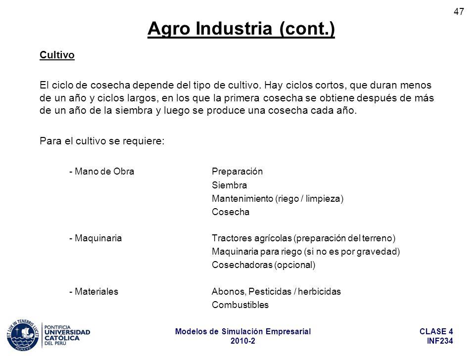 Agro Industria (cont.) Cultivo
