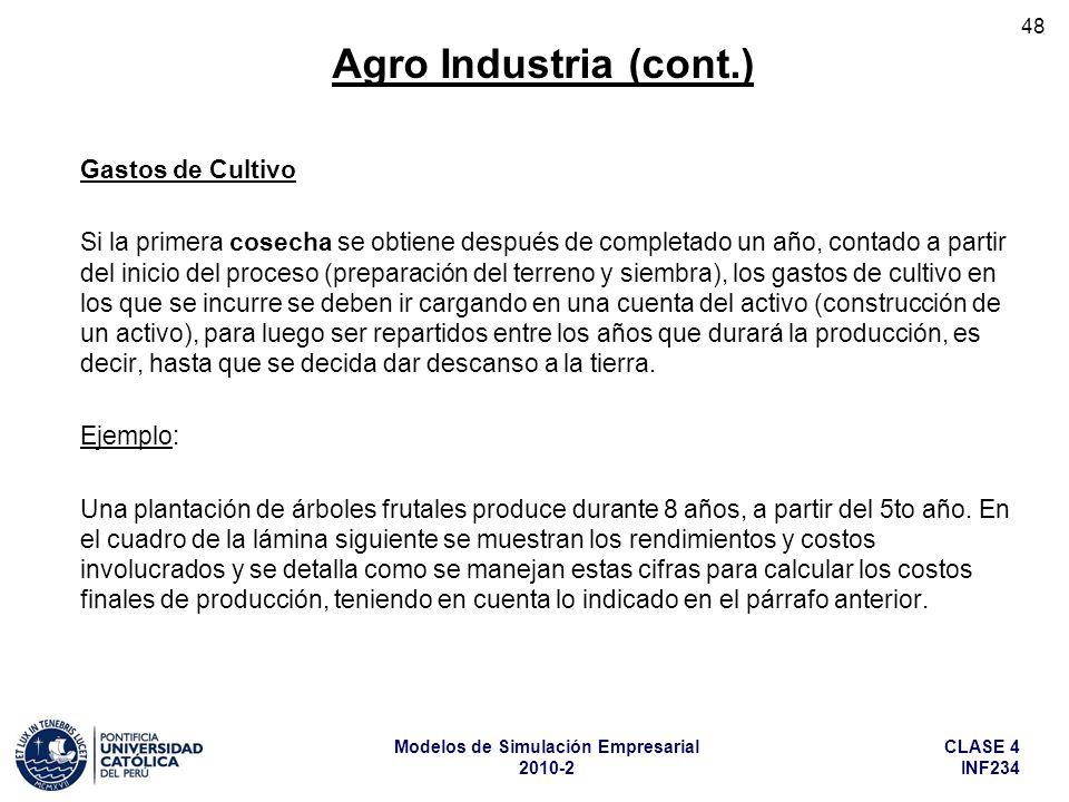 Agro Industria (cont.) Gastos de Cultivo