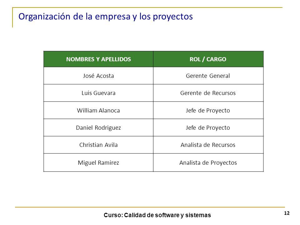 Organización de la empresa y los proyectos