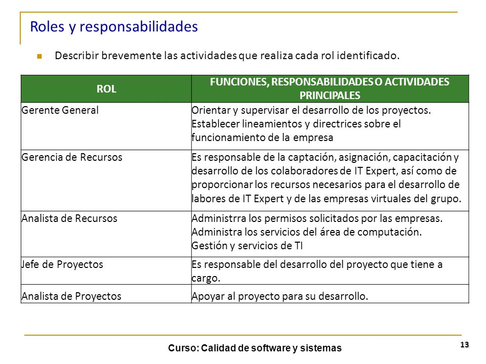 FUNCIONES, RESPONSABILIDADES O ACTIVIDADES PRINCIPALES