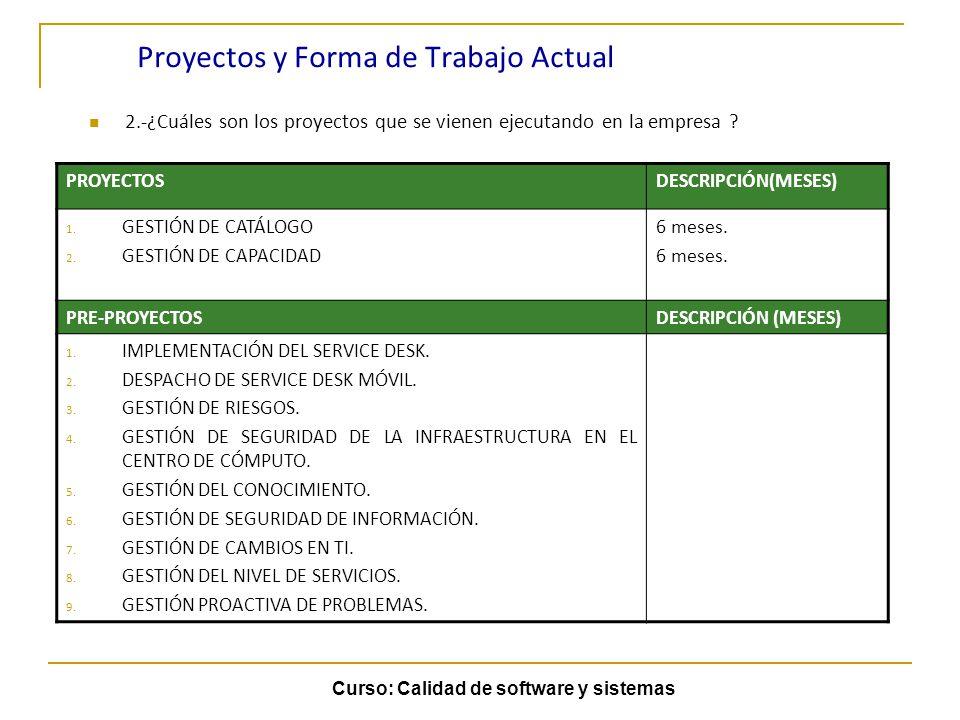 Proyectos y Forma de Trabajo Actual