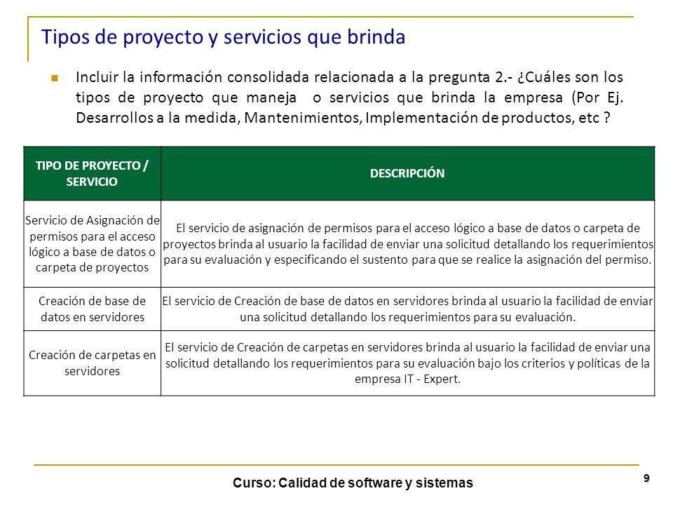 TIPO DE PROYECTO / SERVICIO