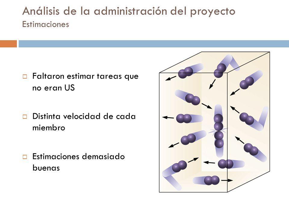 Análisis de la administración del proyecto Estimaciones
