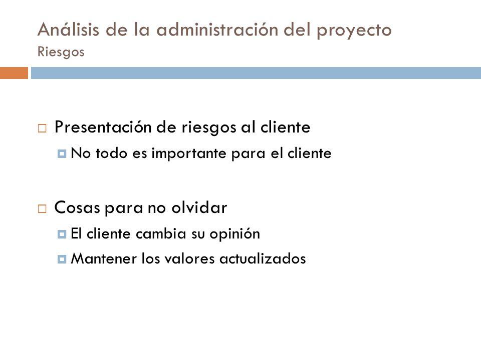 Análisis de la administración del proyecto Riesgos