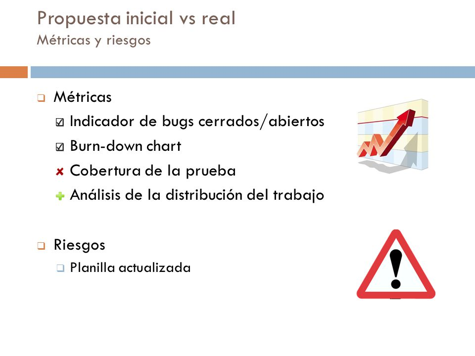 Propuesta inicial vs real Métricas y riesgos