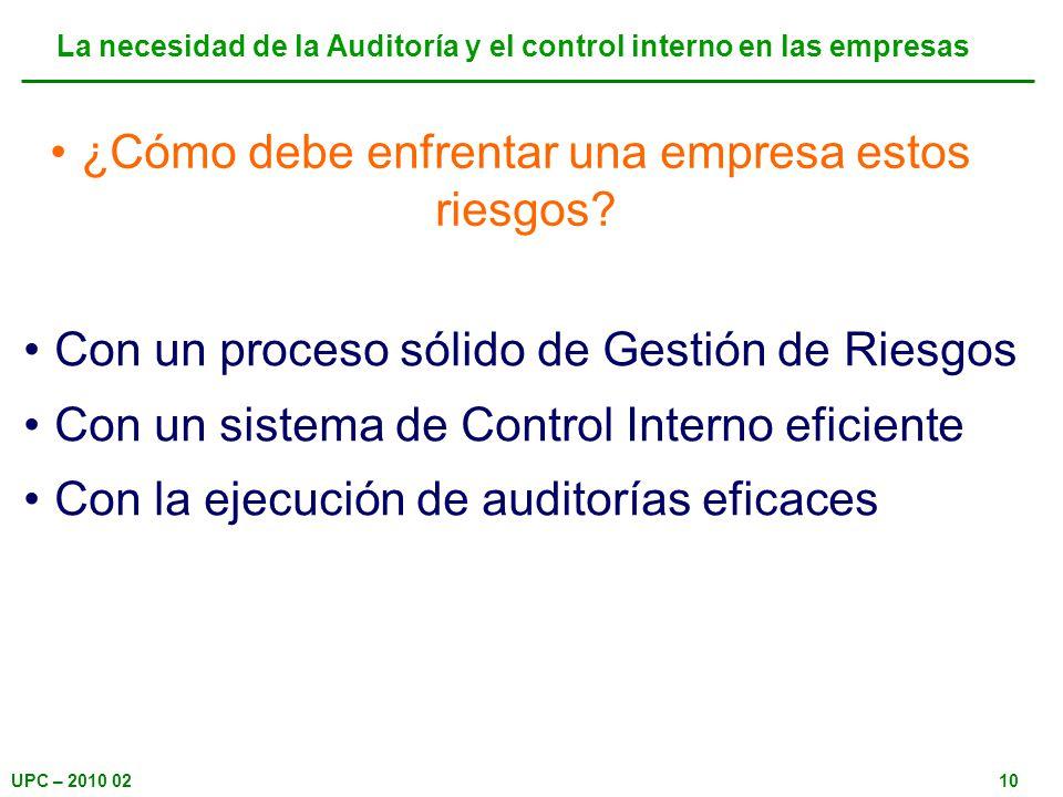 La necesidad de la Auditoría y el control interno en las empresas