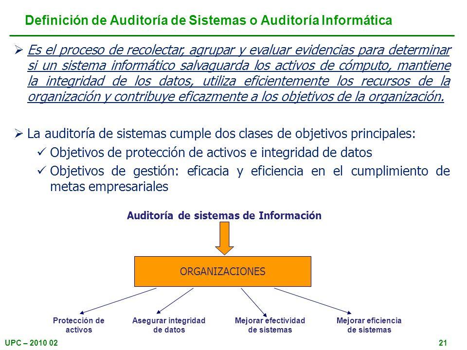 Definición de Auditoría de Sistemas o Auditoría Informática