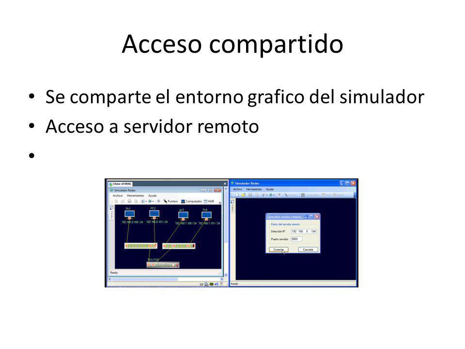 Acceso compartido Se comparte el entorno grafico del simulador