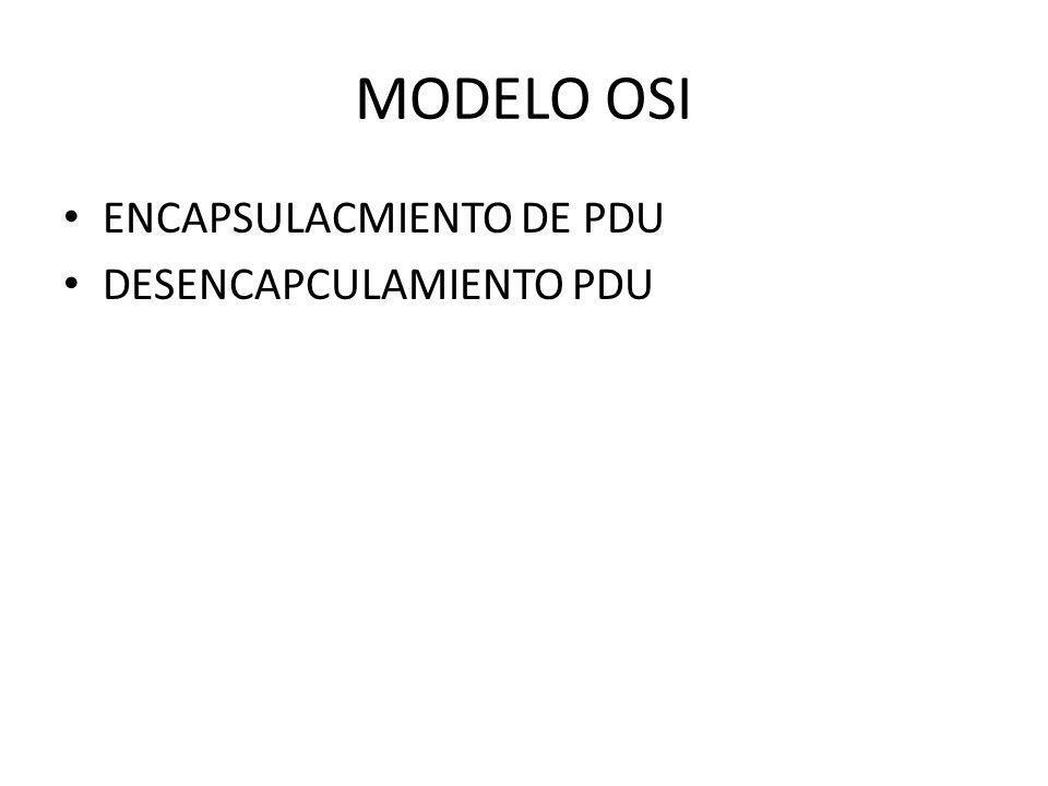 MODELO OSI ENCAPSULACMIENTO DE PDU DESENCAPCULAMIENTO PDU