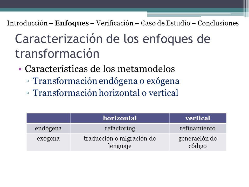 Caracterización de los enfoques de transformación