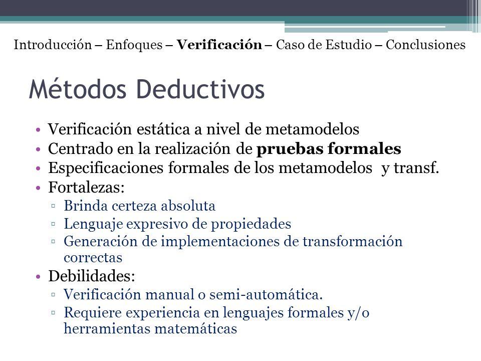 Métodos Deductivos Verificación estática a nivel de metamodelos