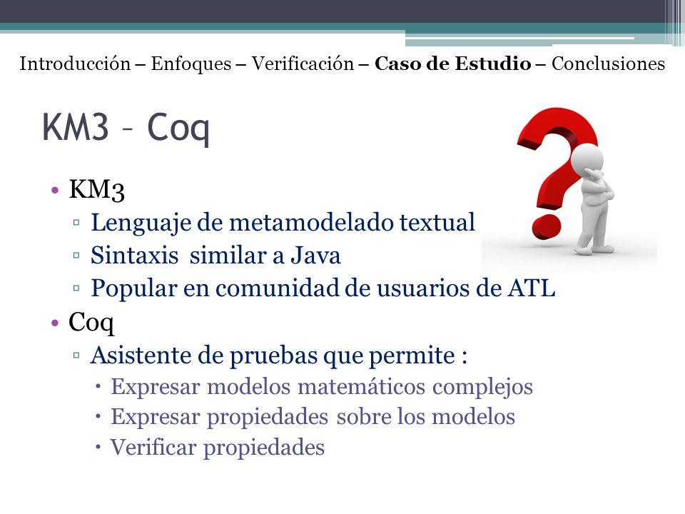 KM3 – Coq KM3 Coq Lenguaje de metamodelado textual
