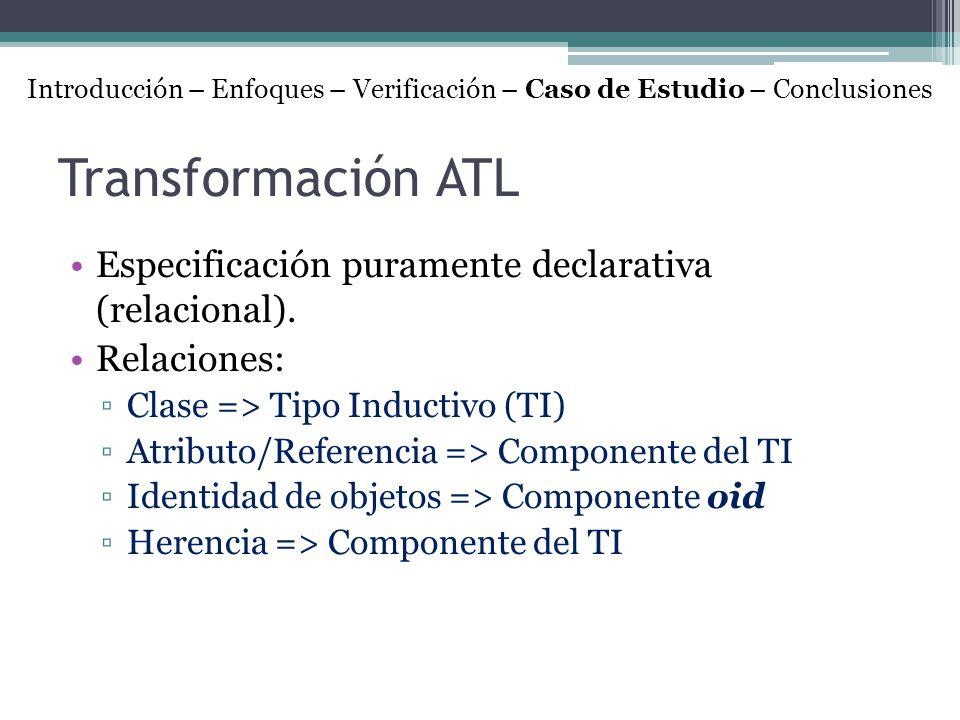 Transformación ATL Especificación puramente declarativa (relacional).
