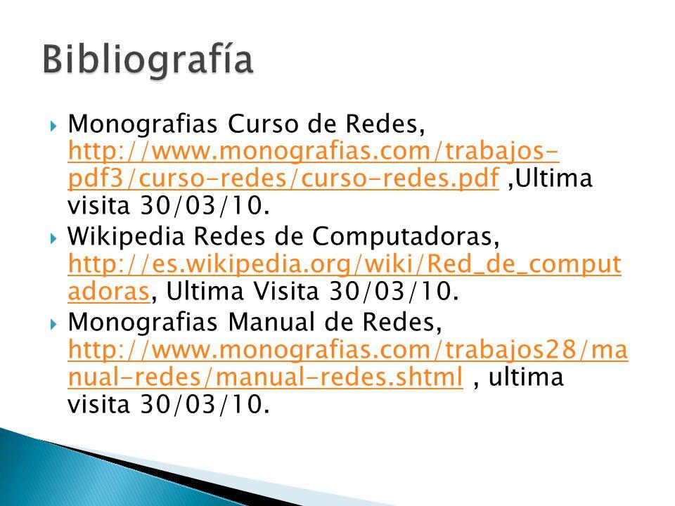 Bibliografía Monografias Curso de Redes, http://www.monografias.com/trabajos- pdf3/curso-redes/curso-redes.pdf ,Ultima visita 30/03/10.