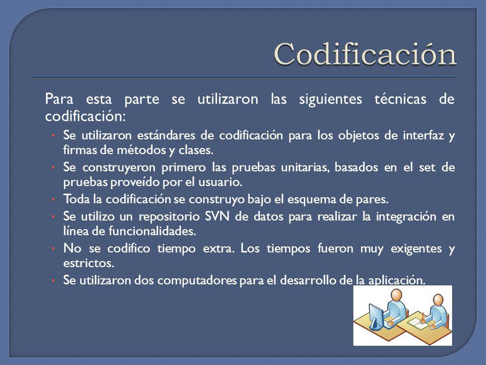 Codificación Para esta parte se utilizaron las siguientes técnicas de codificación:
