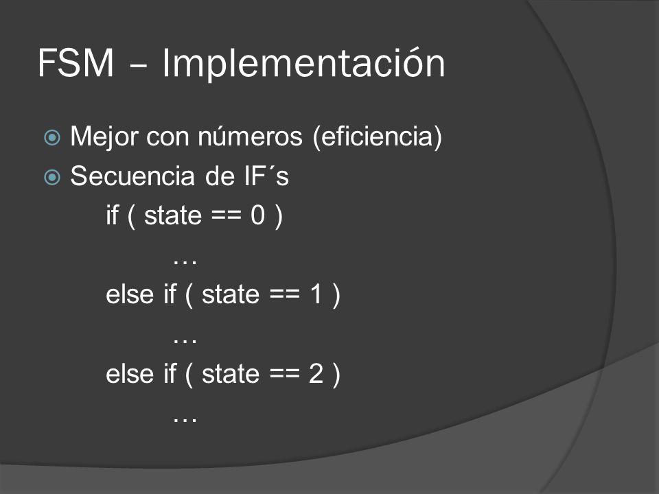 FSM – Implementación Mejor con números (eficiencia) Secuencia de IF´s
