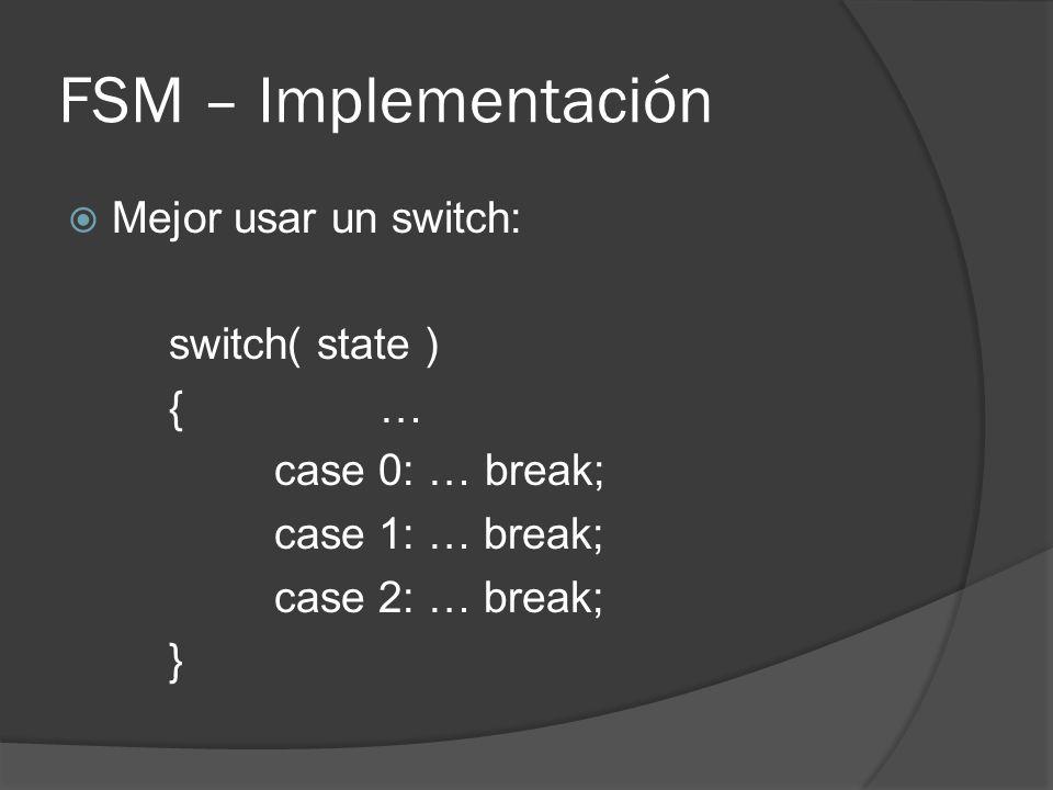 FSM – Implementación Mejor usar un switch: switch( state ) { …