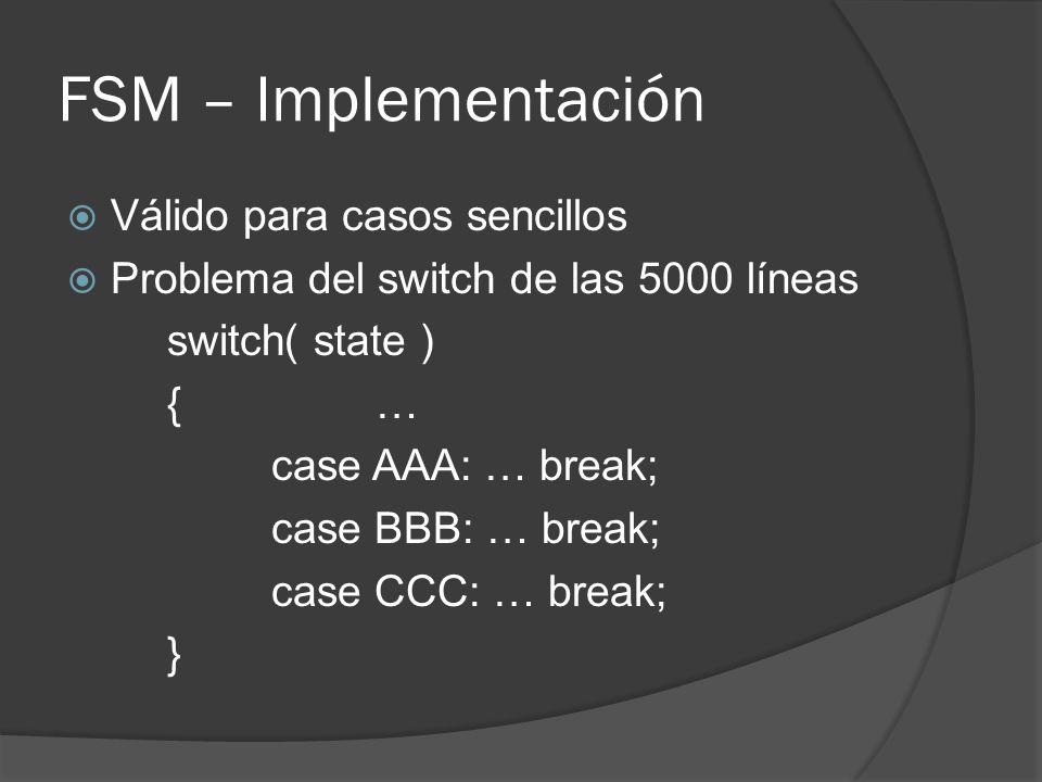 FSM – Implementación Válido para casos sencillos