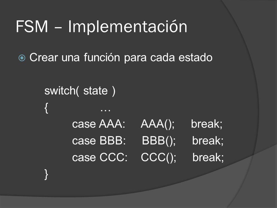 FSM – Implementación Crear una función para cada estado