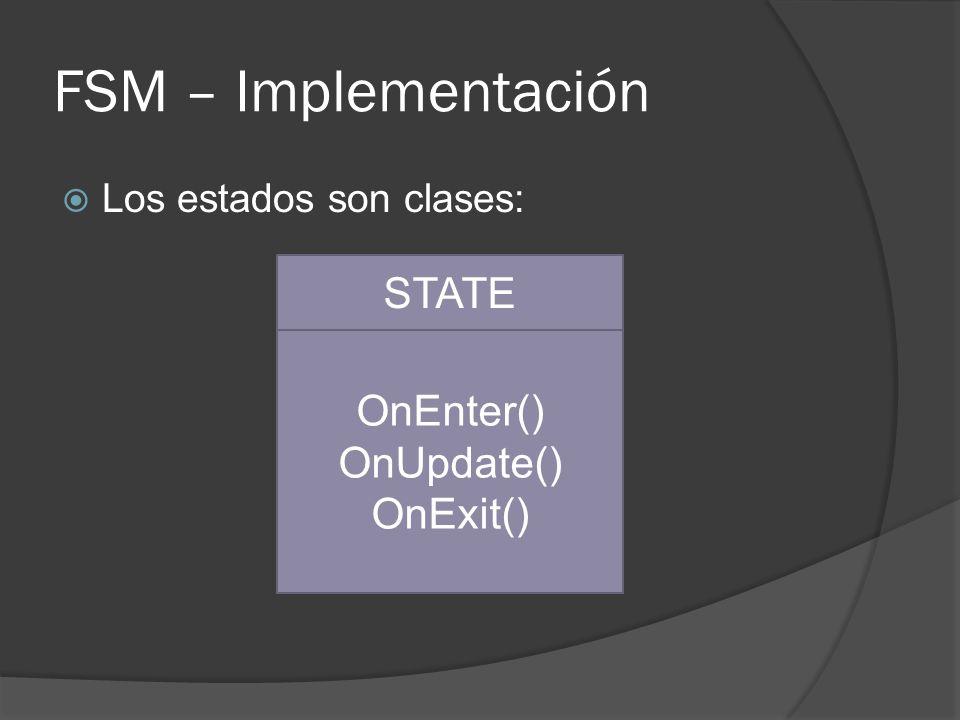 FSM – Implementación STATE OnEnter() OnUpdate() OnExit()