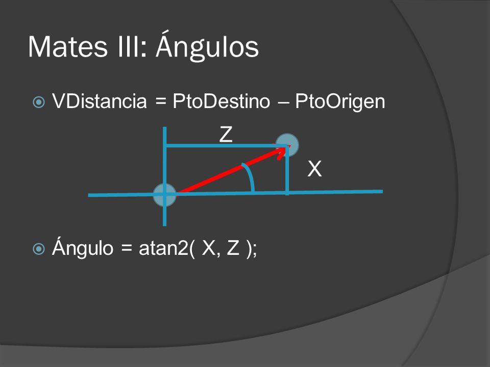 Mates III: Ángulos Z X VDistancia = PtoDestino – PtoOrigen