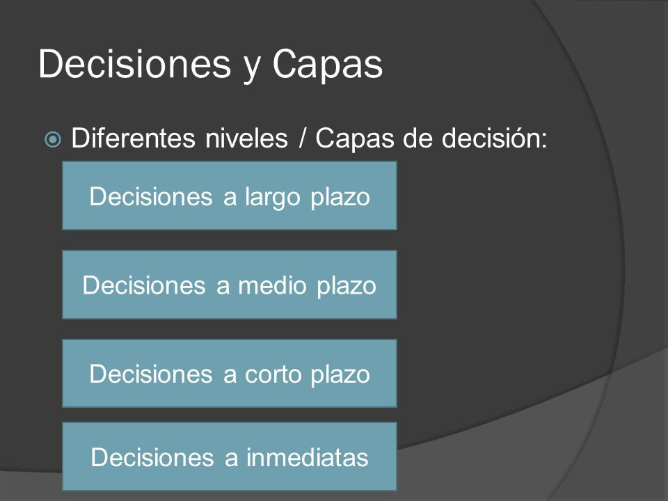 Decisiones y Capas Diferentes niveles / Capas de decisión: