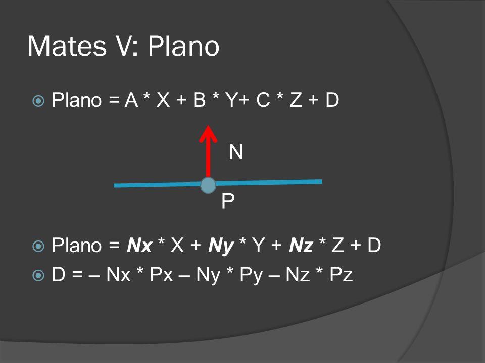Mates V: Plano N P Plano = A * X + B * Y+ C * Z + D