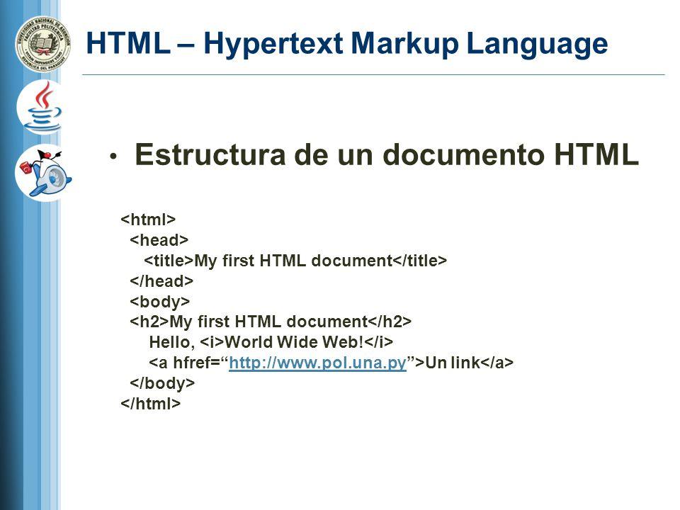 HTML – Hypertext Markup Language