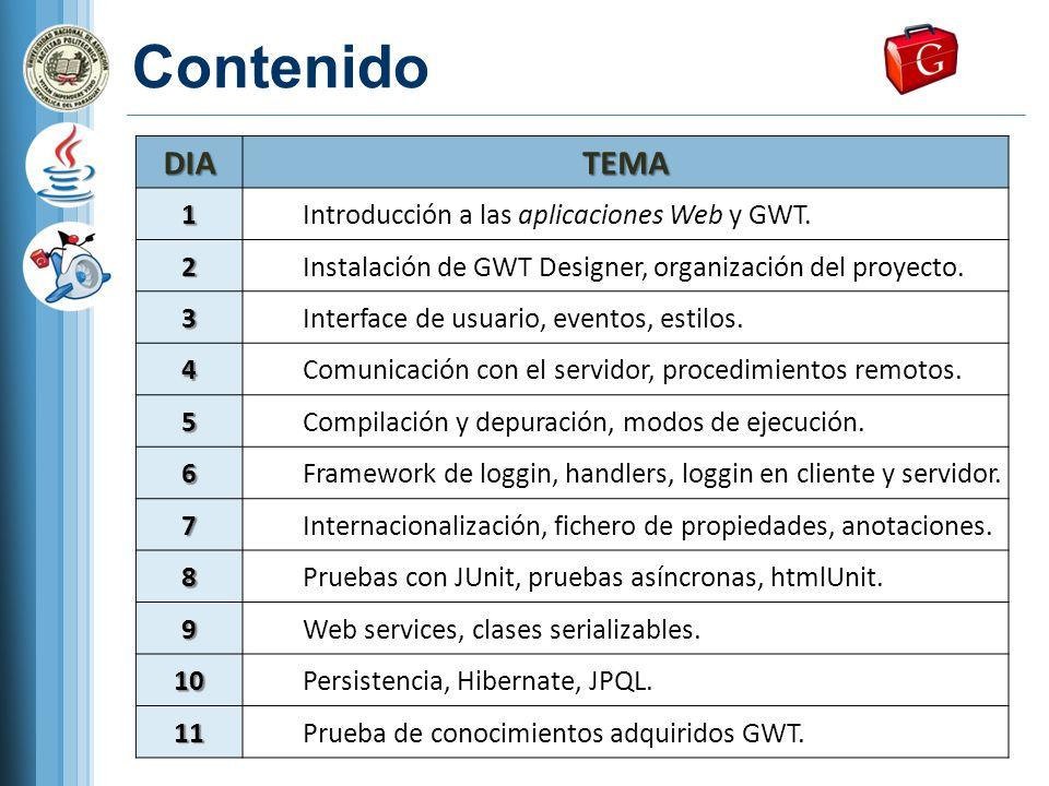 Contenido DIA TEMA 1 Introducción a las aplicaciones Web y GWT. 2
