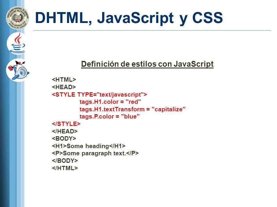 Definición de estilos con JavaScript