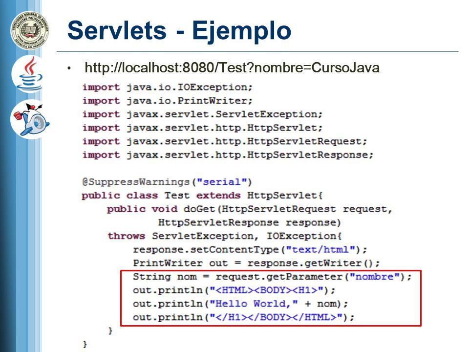 Servlets - Ejemplo http://localhost:8080/Test nombre=CursoJava