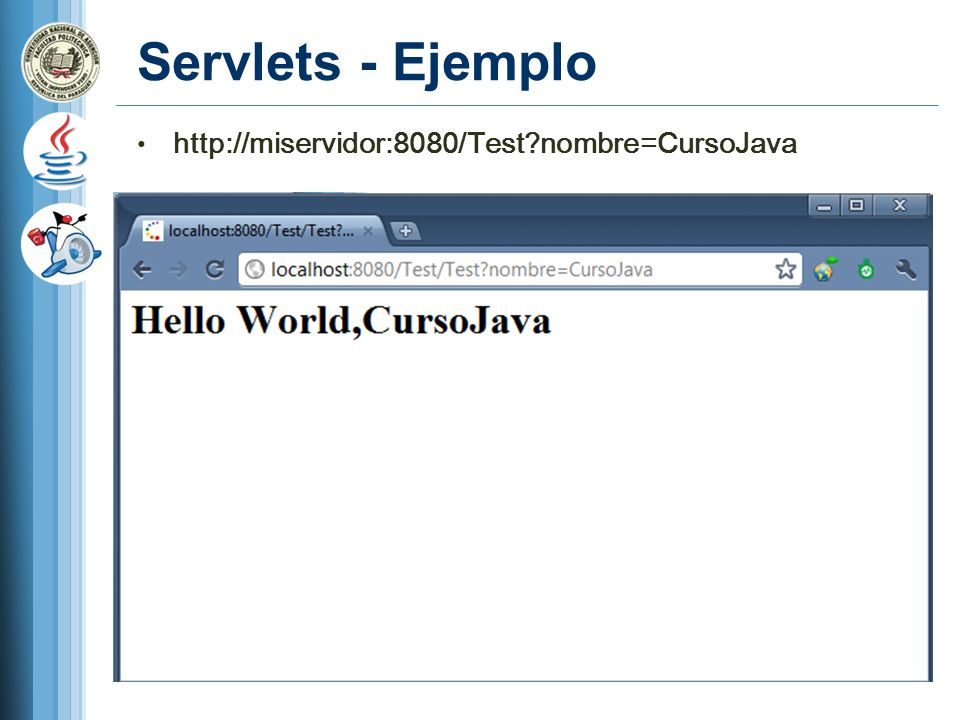 Servlets - Ejemplo http://miservidor:8080/Test nombre=CursoJava