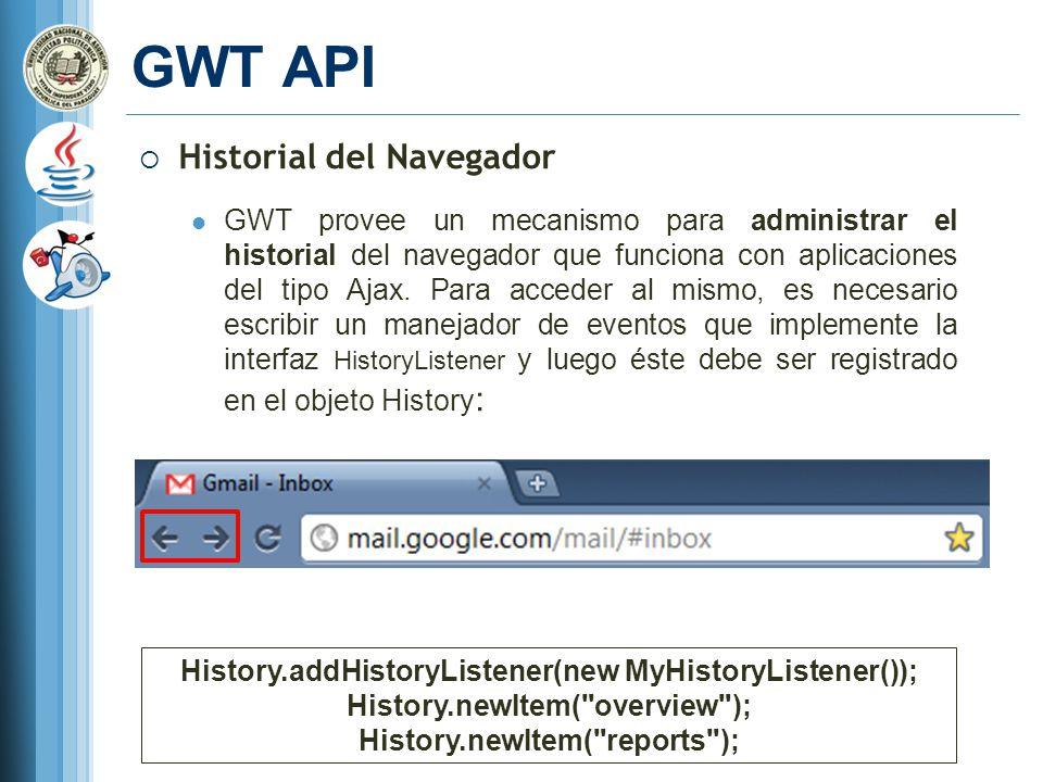 GWT API Historial del Navegador